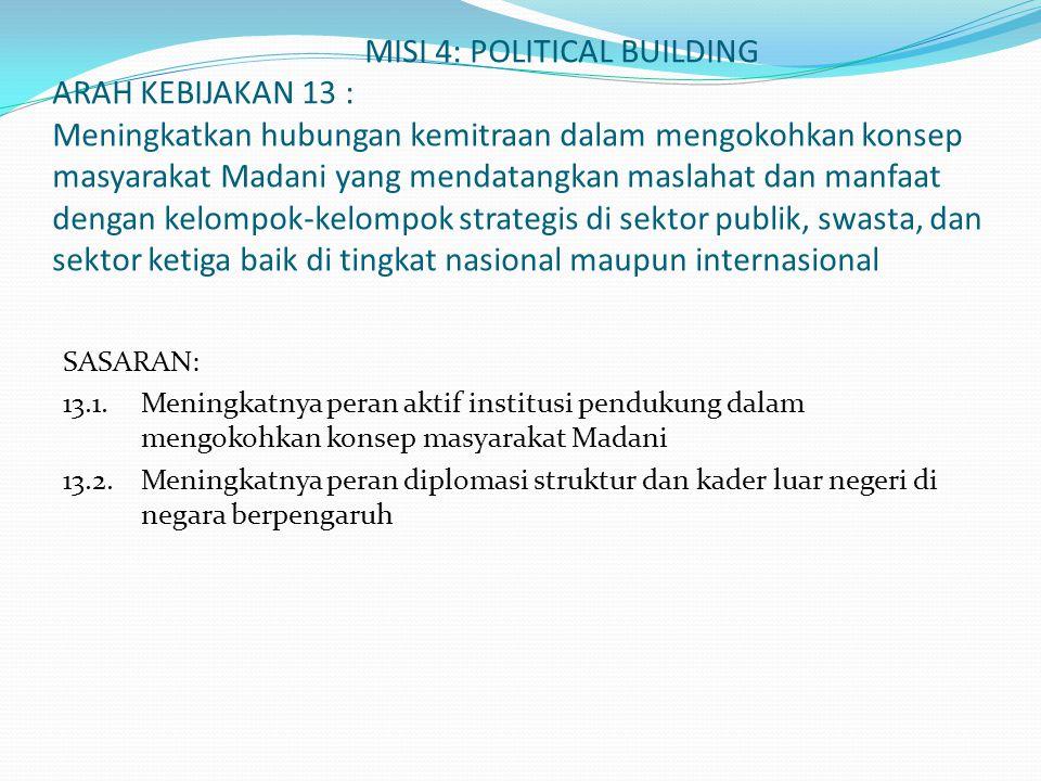 MISI 4: POLITICAL BUILDING ARAH KEBIJAKAN 13 : Meningkatkan hubungan kemitraan dalam mengokohkan konsep masyarakat Madani yang mendatangkan maslahat d