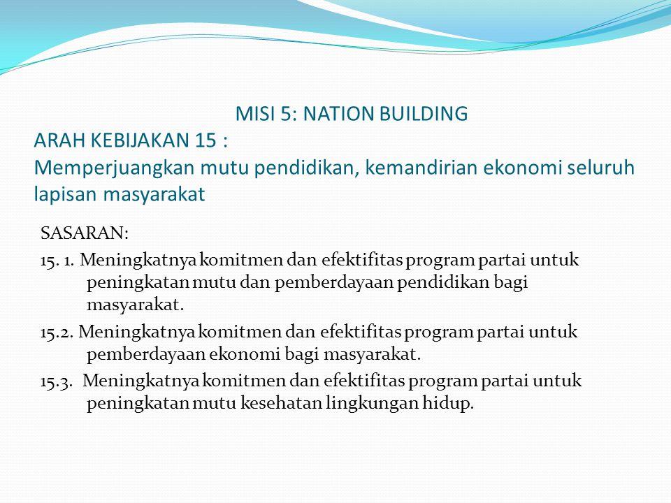 MISI 5: NATION BUILDING ARAH KEBIJAKAN 15 : Memperjuangkan mutu pendidikan, kemandirian ekonomi seluruh lapisan masyarakat SASARAN: 15. 1. Meningkatny