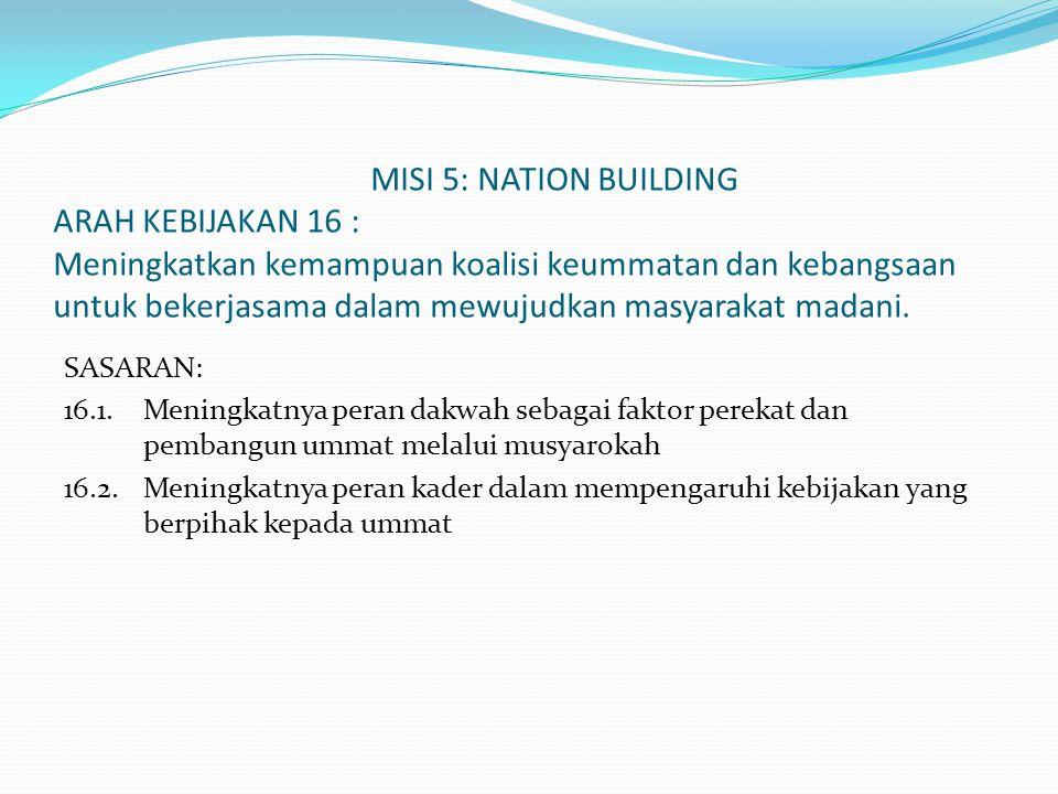 MISI 5: NATION BUILDING ARAH KEBIJAKAN 16 : Meningkatkan kemampuan koalisi keummatan dan kebangsaan untuk bekerjasama dalam mewujudkan masyarakat mada