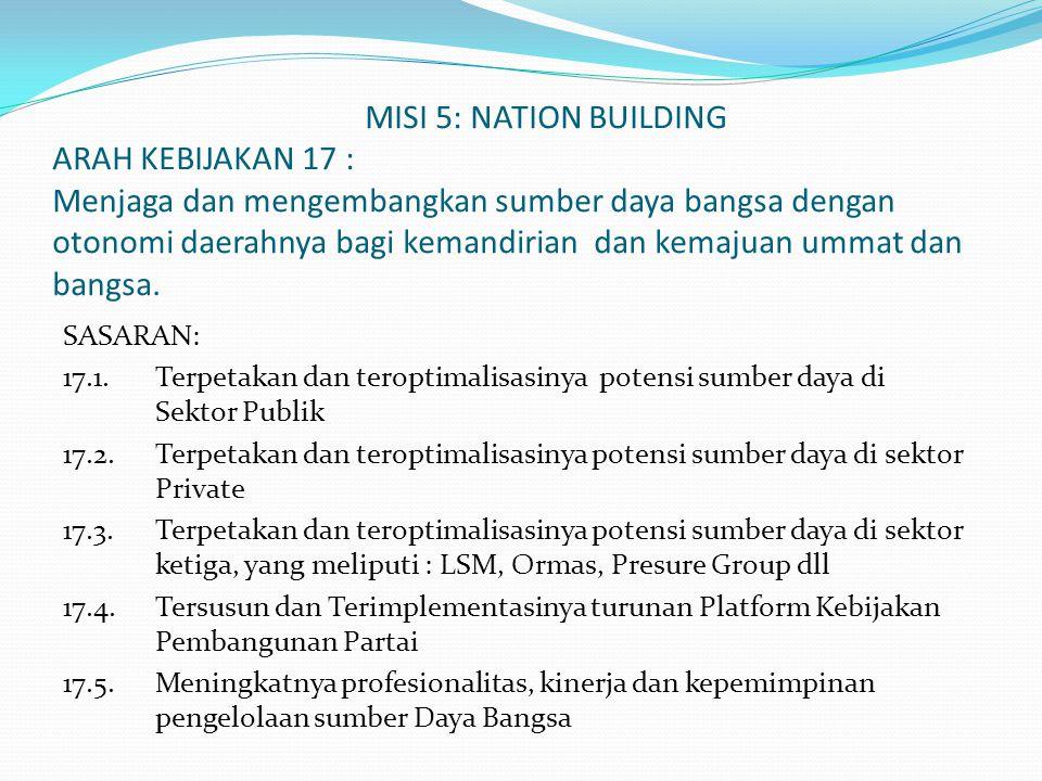 MISI 5: NATION BUILDING ARAH KEBIJAKAN 17 : Menjaga dan mengembangkan sumber daya bangsa dengan otonomi daerahnya bagi kemandirian dan kemajuan ummat