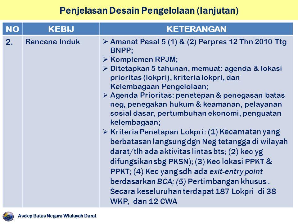 Penjelasan Desain Pengelolaan (lanjutan) Asdep Batas Negara Wialayah Darat NOKEBIJKETERANGAN 2. Rencana Induk  Amanat Pasal 5 (1) & (2) Perpres 12 Th