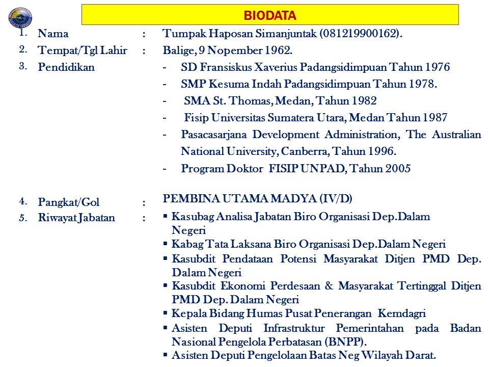 BIODATA 1. Nama:Tumpak Haposan Simanjuntak (081219900162). 2. Tempat/Tgl Lahir:Balige, 9 Nopember 1962. 3. Pendidikan - SD Fransiskus Xaverius Padangs