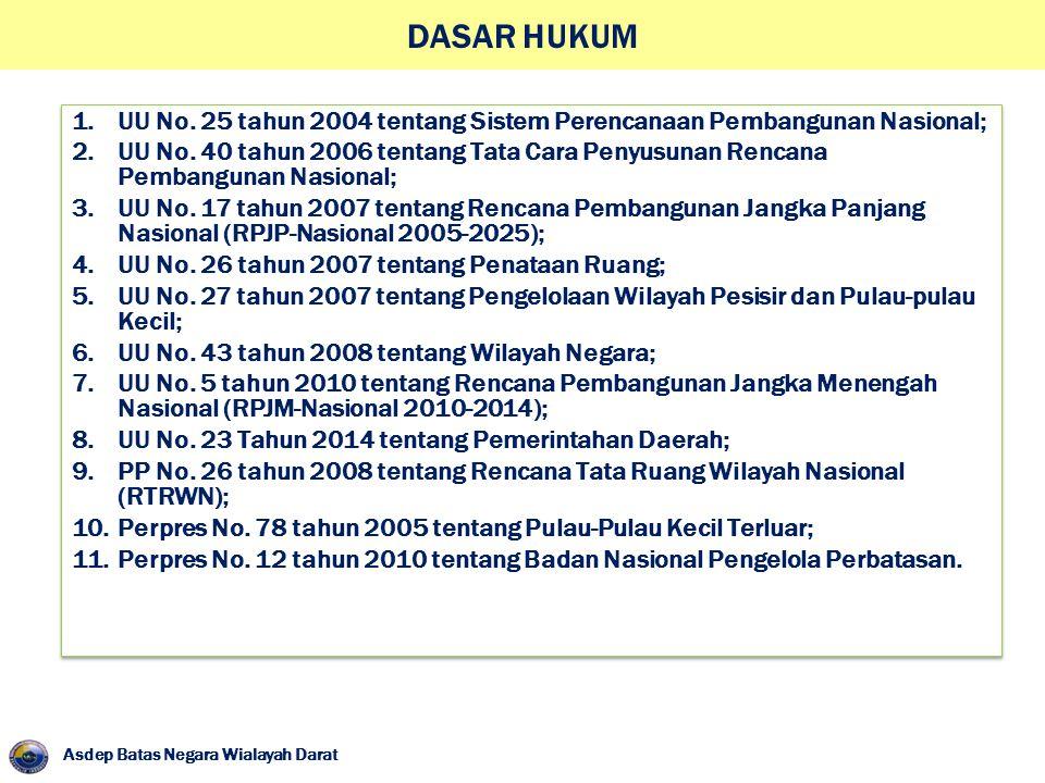DASAR HUKUM Asdep Batas Negara Wialayah Darat 1.UU No. 25 tahun 2004 tentang Sistem Perencanaan Pembangunan Nasional; 2.UU No. 40 tahun 2006 tentang T