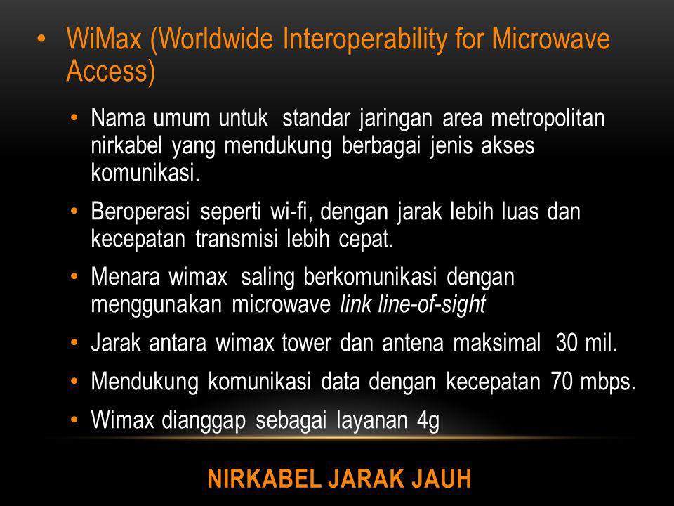 NIRKABEL JARAK JAUH WiMax (Worldwide Interoperability for Microwave Access) Nama umum untuk standar jaringan area metropolitan nirkabel yang mendukung