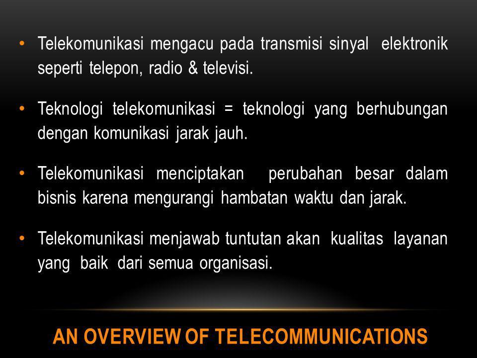 AN OVERVIEW OF TELECOMMUNICATIONS Telekomunikasi mengacu pada transmisi sinyal elektronik seperti telepon, radio & televisi. Teknologi telekomunikasi