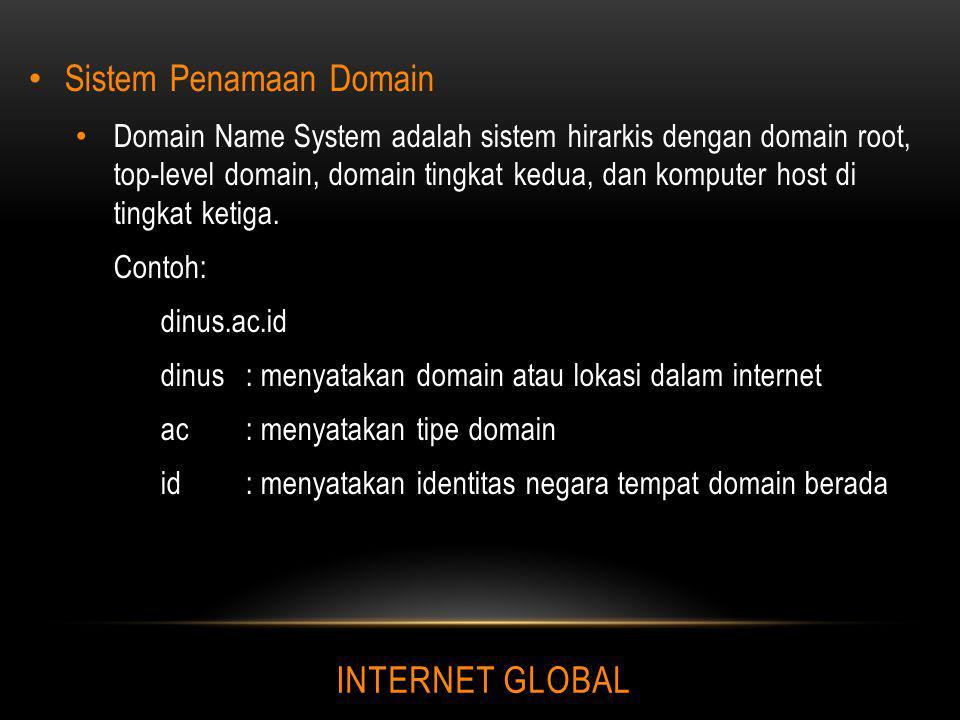 INTERNET GLOBAL Sistem Penamaan Domain Domain Name System adalah sistem hirarkis dengan domain root, top-level domain, domain tingkat kedua, dan kompu