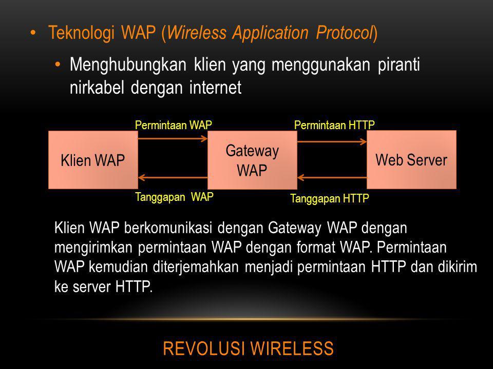 REVOLUSI WIRELESS Teknologi WAP ( Wireless Application Protocol ) Menghubungkan klien yang menggunakan piranti nirkabel dengan internet Klien WAP berk
