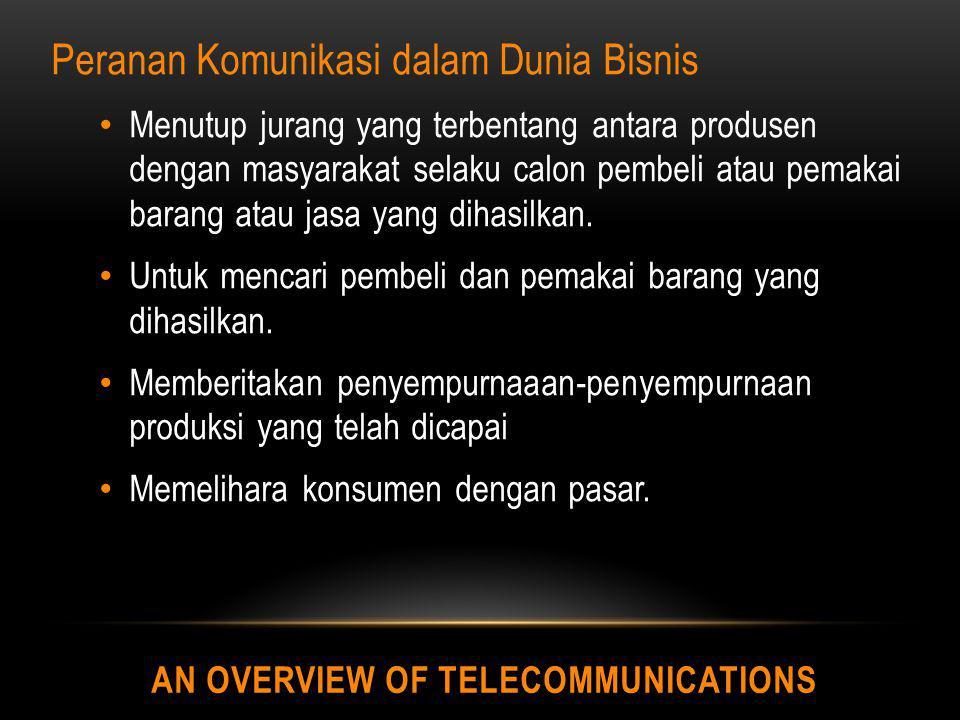 AN OVERVIEW OF TELECOMMUNICATIONS Karakteristik penting dari telekomunikasi adalah kecepatan informasi yang ditransmisikan, yang diukur dalam bit per detik (bps) Model umum telekomunikasi :