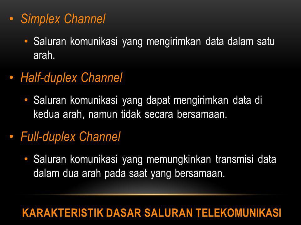 KARAKTERISTIK DASAR SALURAN TELEKOMUNIKASI Simplex Channel Saluran komunikasi yang mengirimkan data dalam satu arah. Half-duplex Channel Saluran komun
