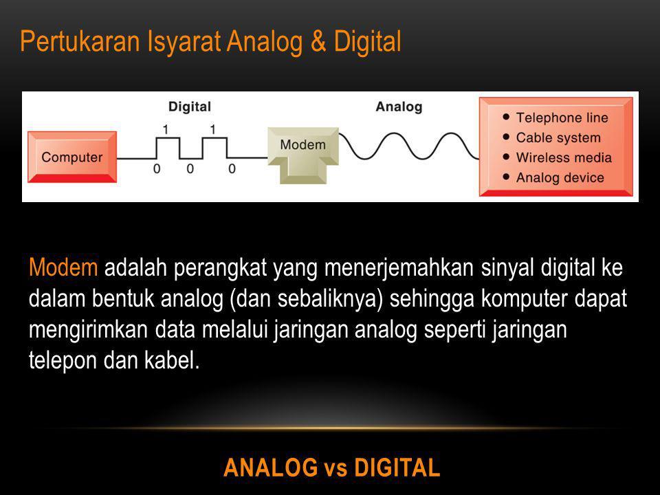 ANALOG vs DIGITAL Pertukaran Isyarat Analog & Digital Modem adalah perangkat yang menerjemahkan sinyal digital ke dalam bentuk analog (dan sebaliknya)