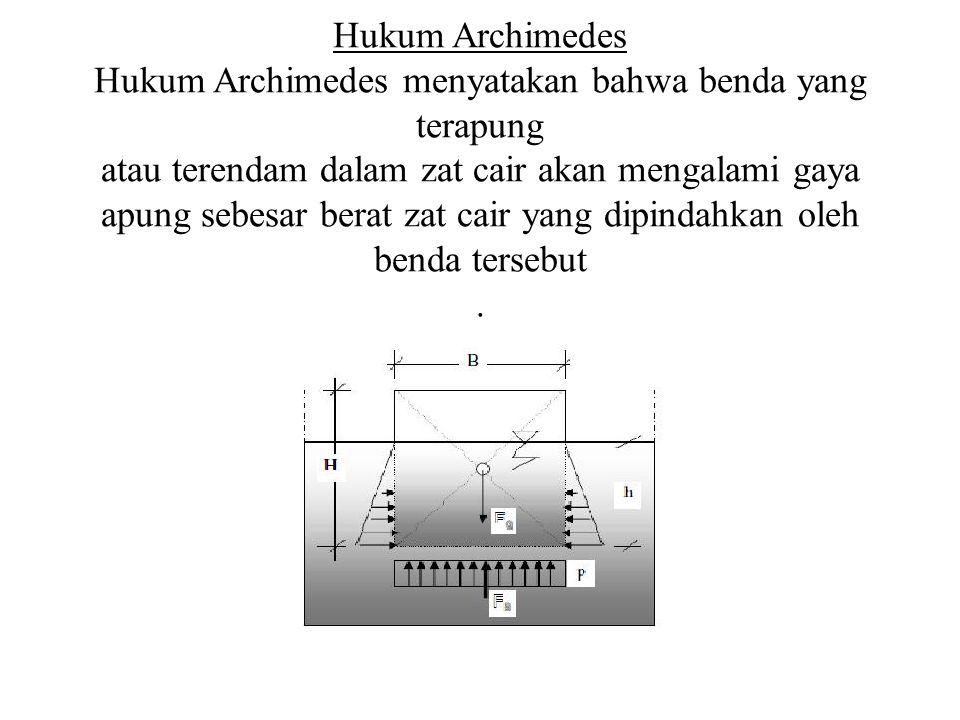 Hukum Archimedes Hukum Archimedes menyatakan bahwa benda yang terapung atau terendam dalam zat cair akan mengalami gaya apung sebesar berat zat cair y