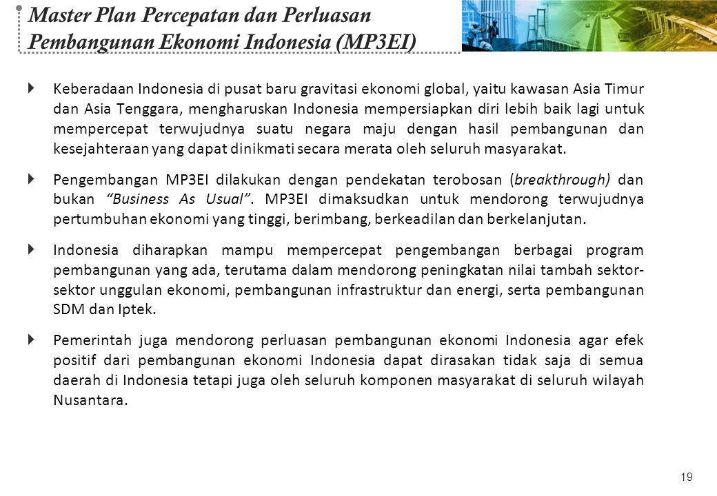 Master Plan Percepatan dan Perluasan Pembangunan Ekonomi Indonesia (MP3EI)  Keberadaan Indonesia di pusat baru gravitasi ekonomi global, yaitu kawasa
