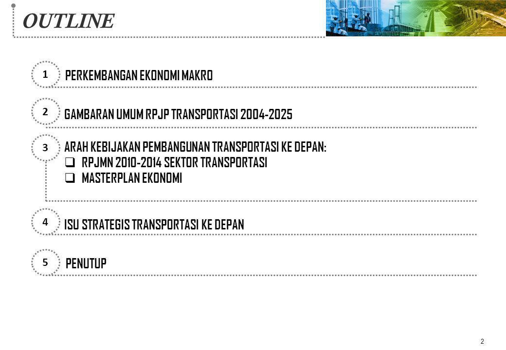 OUTLINE 2 1 2 3 5 PERKEMBANGAN EKONOMI MAKRO GAMBARAN UMUM RPJP TRANSPORTASI 2004-2025 ARAH KEBIJAKAN PEMBANGUNAN TRANSPORTASI KE DEPAN:  RPJMN 2010-