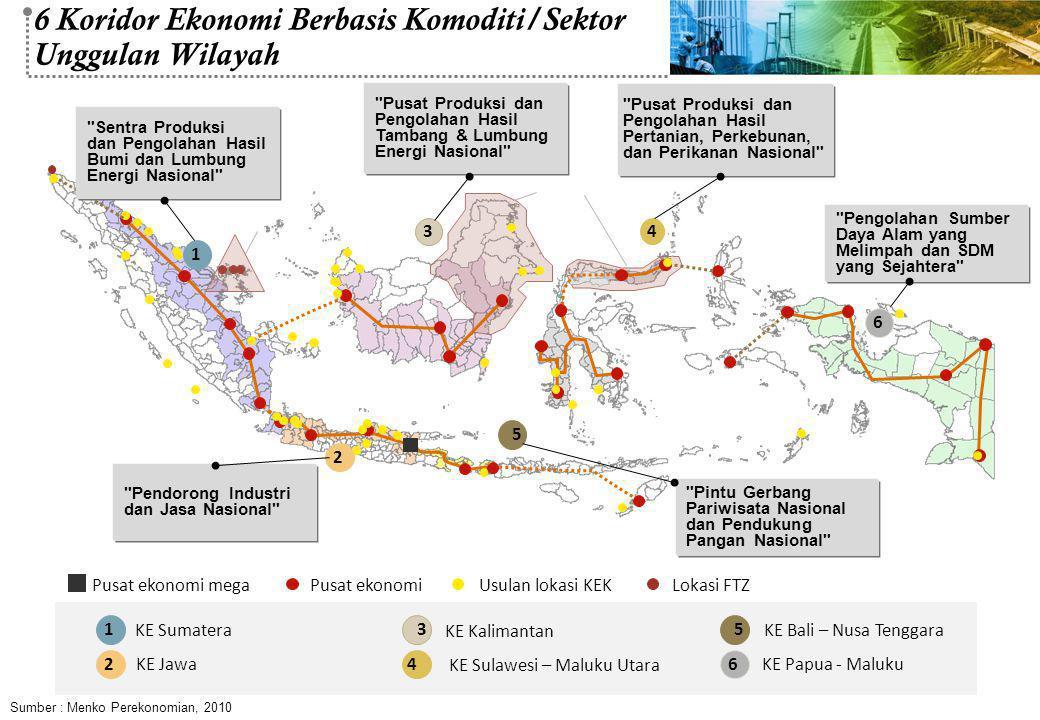 1 KE Sumatera 2 KE Jawa 5 KE Bali – Nusa Tenggara 6 KE Papua - Maluku 3 KE Kalimantan 4 KE Sulawesi – Maluku Utara 3 4 6 Pusat ekonomiPusat ekonomi me