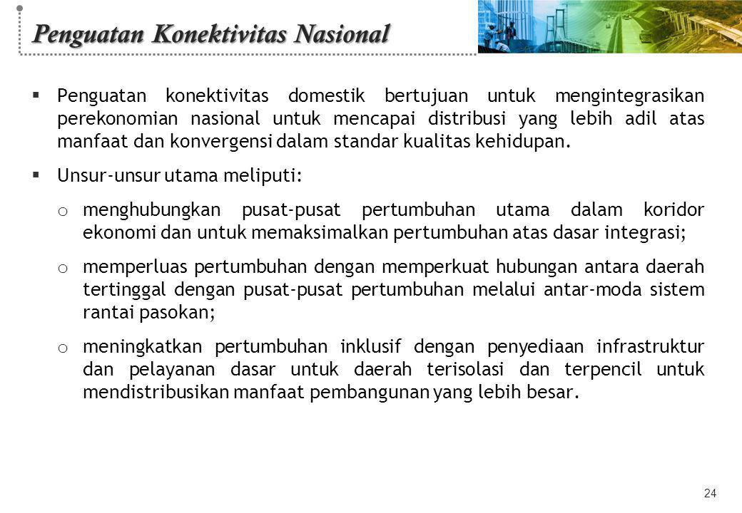Penguatan Konektivitas Nasional  Penguatan konektivitas domestik bertujuan untuk mengintegrasikan perekonomian nasional untuk mencapai distribusi yan