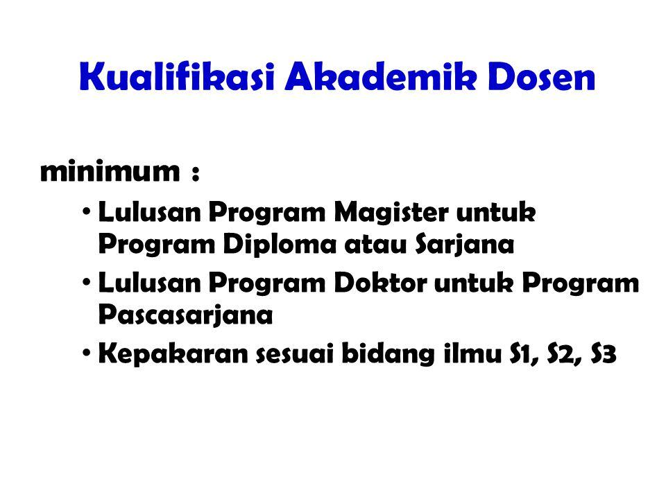 Kualifikasi Akademik Dosen  Dosen memiliki kualifikasi akademik minimum : Lulusan Program Magister untuk Program Diploma atau Sarjana Lulusan Program