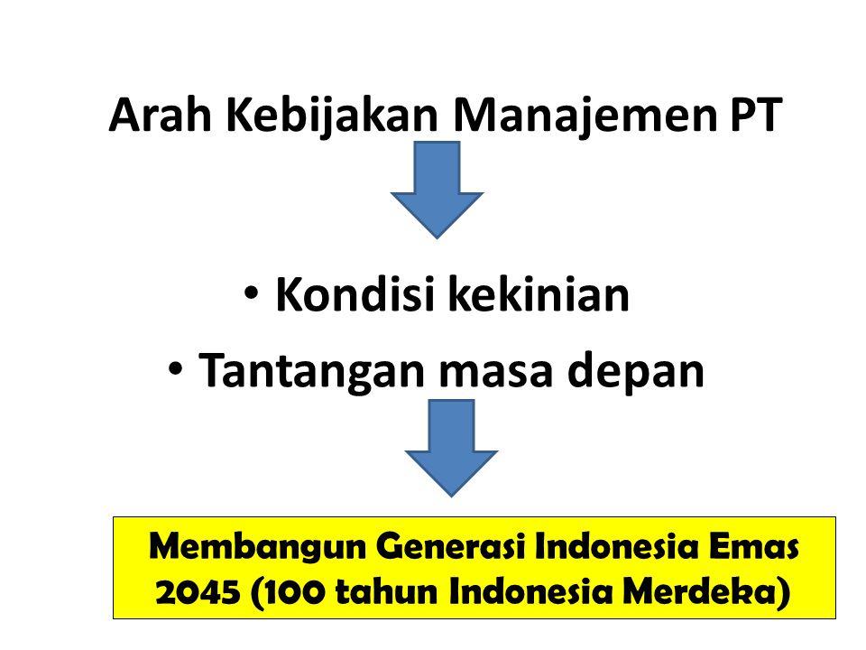 Arah Kebijakan Manajemen PT Kondisi kekinian Tantangan masa depan Membangun Generasi Indonesia Emas 2045 (100 tahun Indonesia Merdeka)