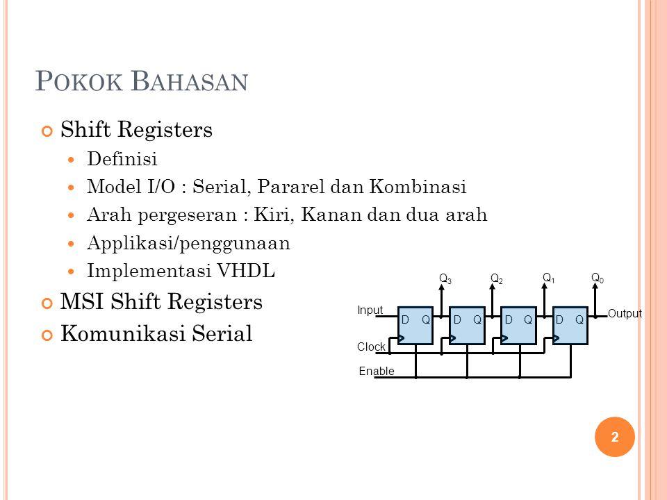 P OKOK B AHASAN Shift Registers Definisi Model I/O : Serial, Pararel dan Kombinasi Arah pergeseran : Kiri, Kanan dan dua arah Applikasi/penggunaan Imp