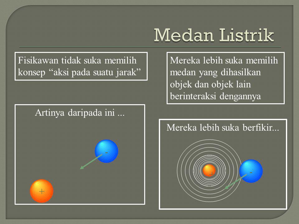 Fisikawan tidak suka memilih konsep aksi pada suatu jarak Mereka lebih suka memilih medan yang dihasilkan objek dan objek lain berinteraksi dengannya Artinya daripada ini...