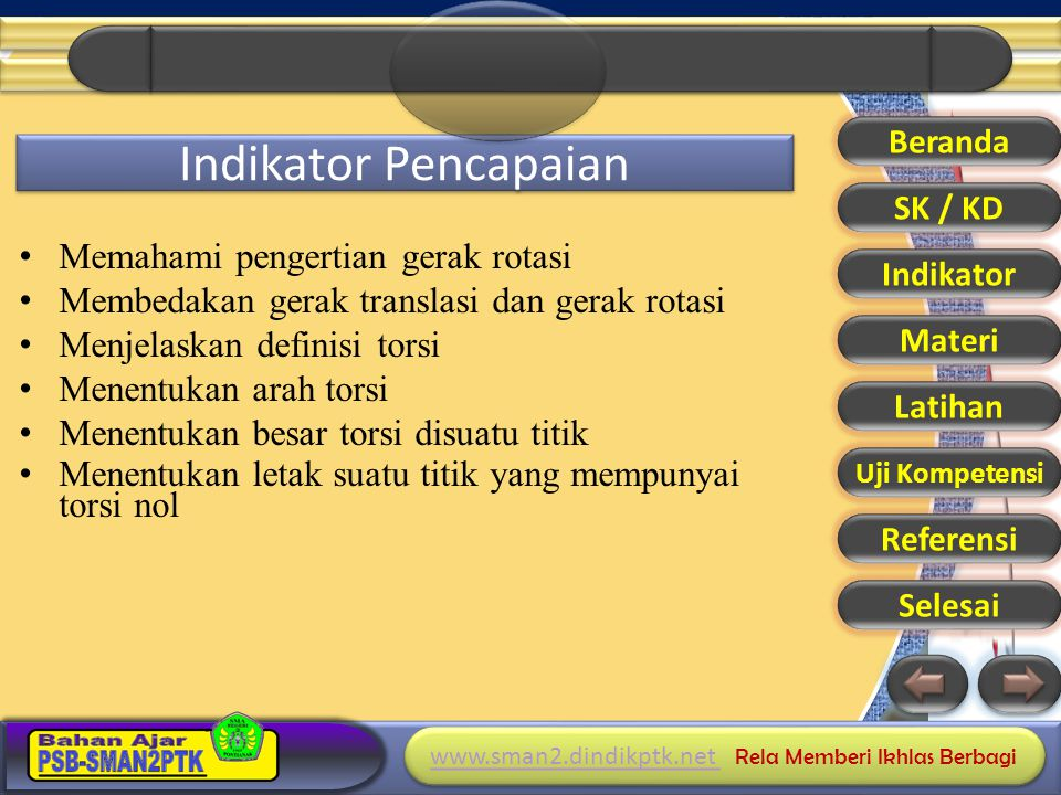 www.sman2.dindikptk.net www.sman2.dindikptk.net Rela Memberi Ikhlas Berbagi www.sman2.dindikptk.net www.sman2.dindikptk.net Rela Memberi Ikhlas Berbagi Referensi 1.Dwi Satya Palupi dkk, Fisika XI BSE 2.Sri Handayani dkk, Fisika XI BSE 3.Bambang Haryadi, Fisika XI BSE 4.Sarwono dkk, Fisika XI BSE 5.Pusat Sumber Belajar.