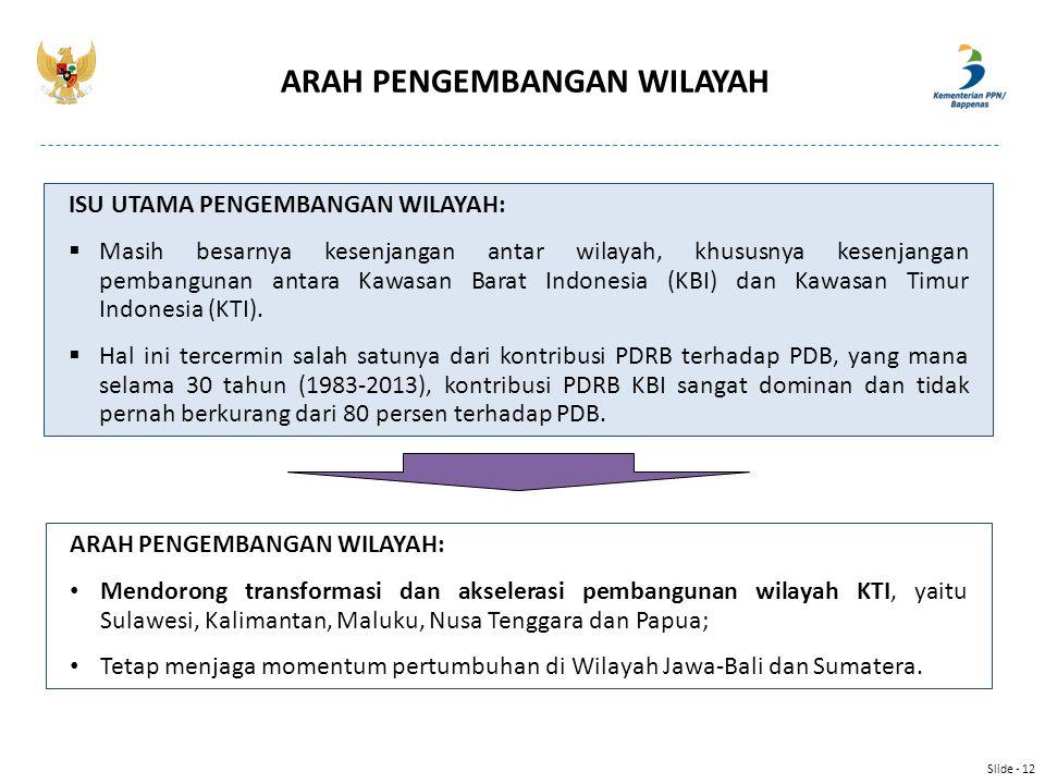 ARAH PENGEMBANGAN WILAYAH: Mendorong transformasi dan akselerasi pembangunan wilayah KTI, yaitu Sulawesi, Kalimantan, Maluku, Nusa Tenggara dan Papua;