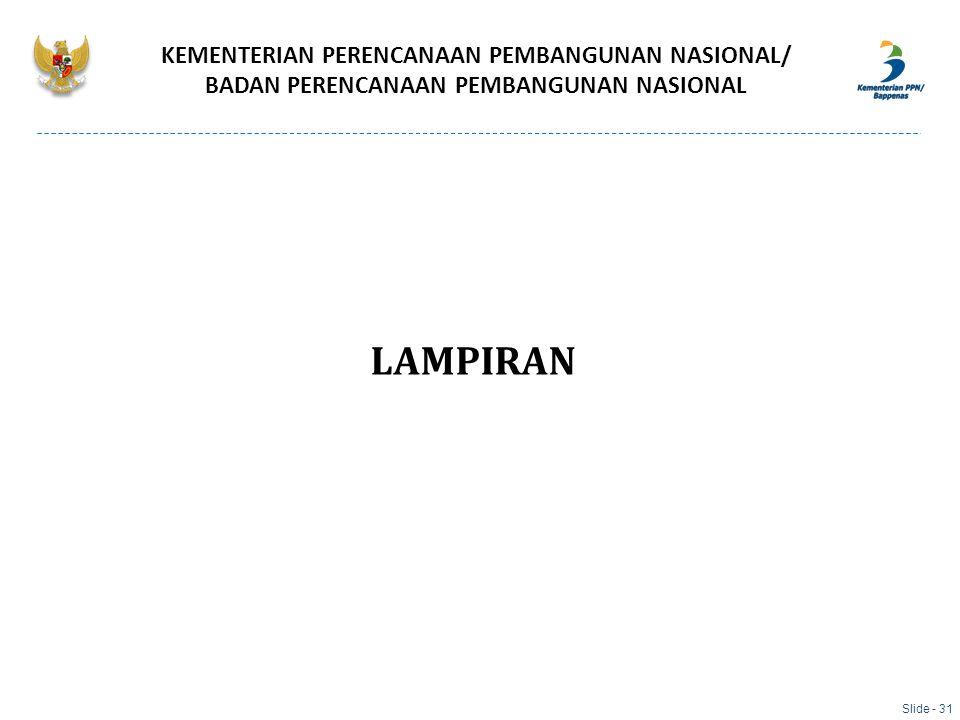 LAMPIRAN KEMENTERIAN PERENCANAAN PEMBANGUNAN NASIONAL/ BADAN PERENCANAAN PEMBANGUNAN NASIONAL Slide - 31