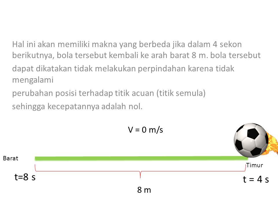 3. Kecepatan kecepatan menunjukkan adanya perpindahan yang ditempuh oleh suatu benda tiap satuan waktu. Sebagai contoh, jika Sebuah bola bergerak ke a