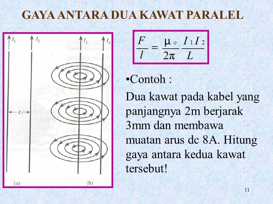 GAYA ANTARA DUA KAWAT PARALEL FlFl μ o I 1 I 2 2 π L  Contoh : Dua kawat pada kabel yang panjangnya 2m berjarak 3mm dan membawa muatan arus dc 8A. Hi