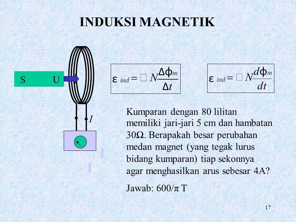 INDUKSI MAGNETIK SU I  −  N ΔφmΔtΔφmΔt ε ind Kumparan dengan 80 lilitan memiliki jari-jari 5 cm dan hambatan 30Ω. Berapakah besar perubahan medan m