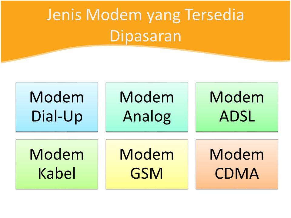 Jenis Modem yang Tersedia Dipasaran Modem Dial-Up Modem Analog Modem ADSL Modem Kabel Modem GSM Modem CDMA