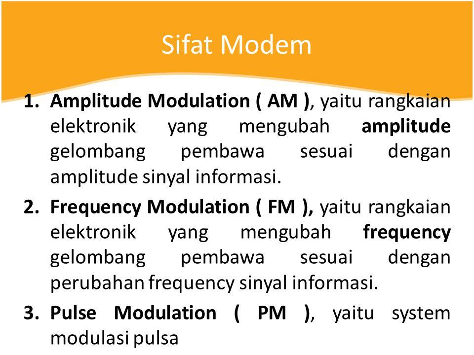 Sifat Modem 1.Amplitude Modulation ( AM ), yaitu rangkaian elektronik yang mengubah amplitude gelombang pembawa sesuai dengan amplitude sinyal informasi.