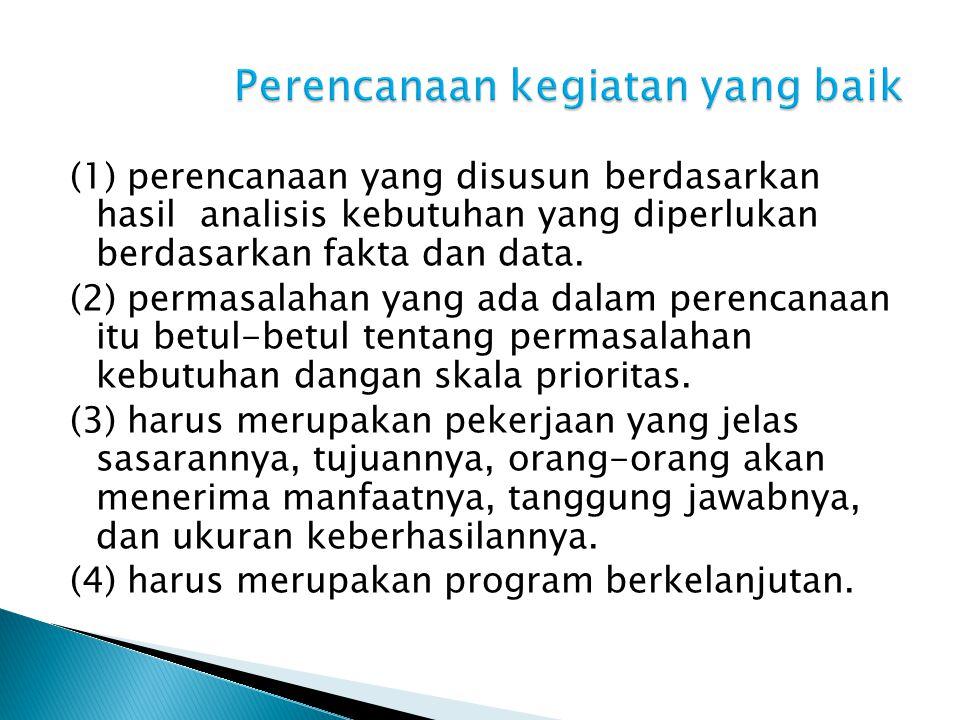 (1) perencanaan yang disusun berdasarkan hasil analisis kebutuhan yang diperlukan berdasarkan fakta dan data.