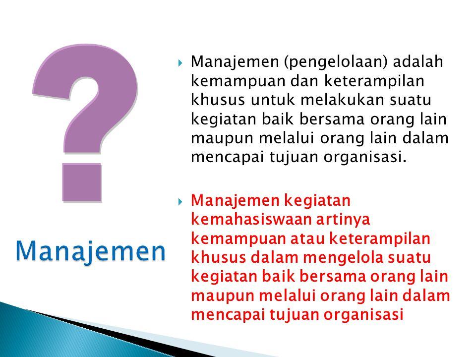  Manajemen (pengelolaan) adalah kemampuan dan keterampilan khusus untuk melakukan suatu kegiatan baik bersama orang lain maupun melalui orang lain dalam mencapai tujuan organisasi.