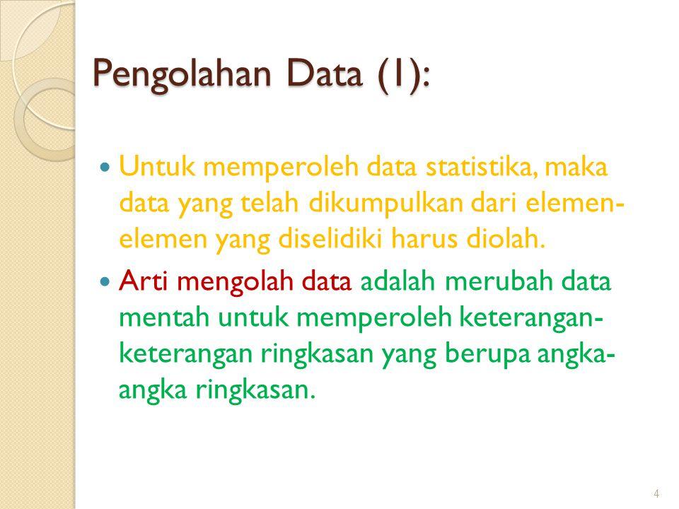 Pengolahan Data (1): Untuk memperoleh data statistika, maka data yang telah dikumpulkan dari elemen- elemen yang diselidiki harus diolah. Arti mengola