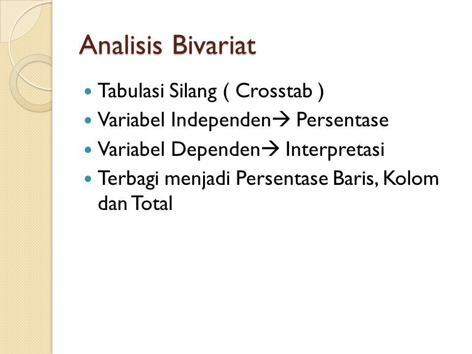 Analisis Bivariat Tabulasi Silang ( Crosstab ) Variabel Independen  Persentase Variabel Dependen  Interpretasi Terbagi menjadi Persentase Baris, Kol