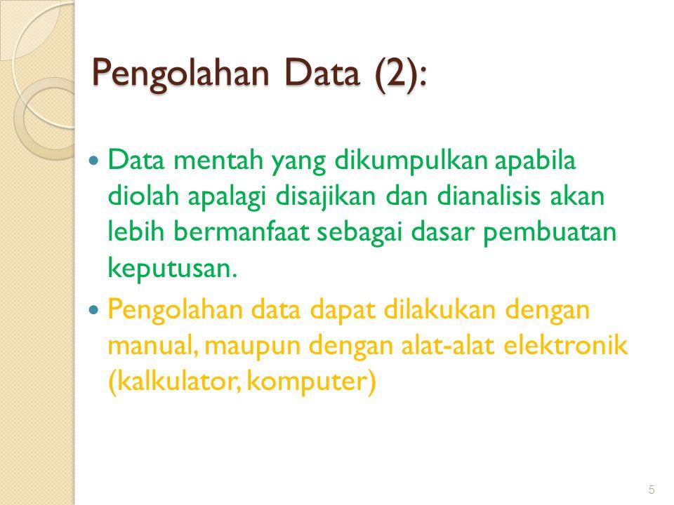 Pengolahan Data (2): Data mentah yang dikumpulkan apabila diolah apalagi disajikan dan dianalisis akan lebih bermanfaat sebagai dasar pembuatan keputu