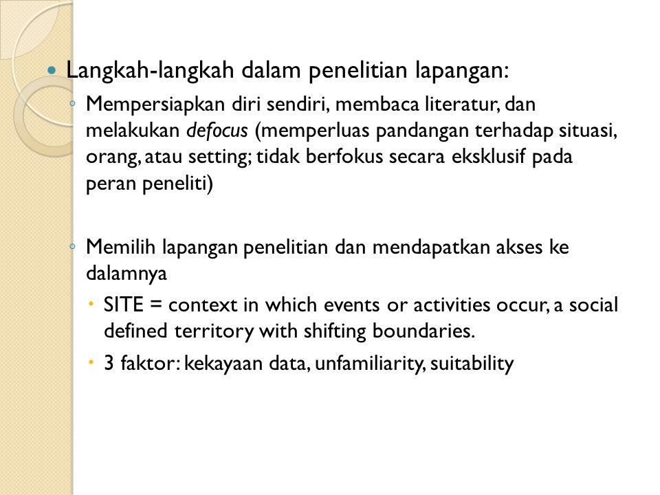 Langkah-langkah dalam penelitian lapangan: ◦ Mempersiapkan diri sendiri, membaca literatur, dan melakukan defocus (memperluas pandangan terhadap situa
