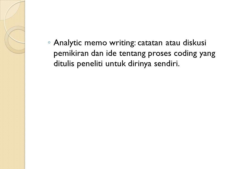 ◦ Analytic memo writing: catatan atau diskusi pemikiran dan ide tentang proses coding yang ditulis peneliti untuk dirinya sendiri.