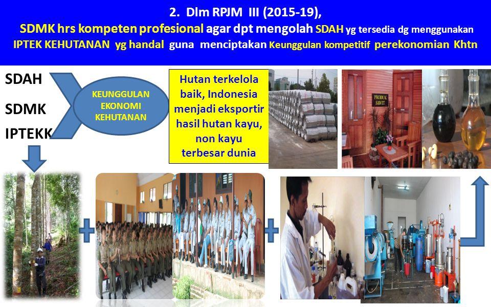 2. Dlm RPJM III (2015-19), SDMK hrs kompeten profesional agar dpt mengolah SDAH yg tersedia dg menggunakan IPTEK KEHUTANAN yg handal guna menciptakan