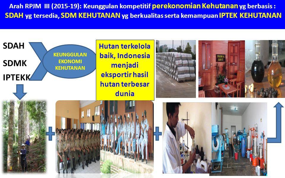 Arah RPJM III (2015-19): Keunggulan kompetitif perekonomian Kehutanan yg berbasis : SDAH yg tersedia, SDM KEHUTANAN yg berkualitas serta kemampuan IPT