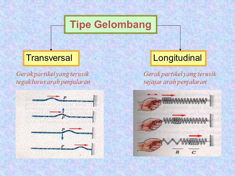 ISTILAH DALAM GELOMBANG Gerak partikel dalam materi dikait- kan dengan arah penjalaran – Transversal – Longitudinal Kelakuan partikel yang dilalui gel
