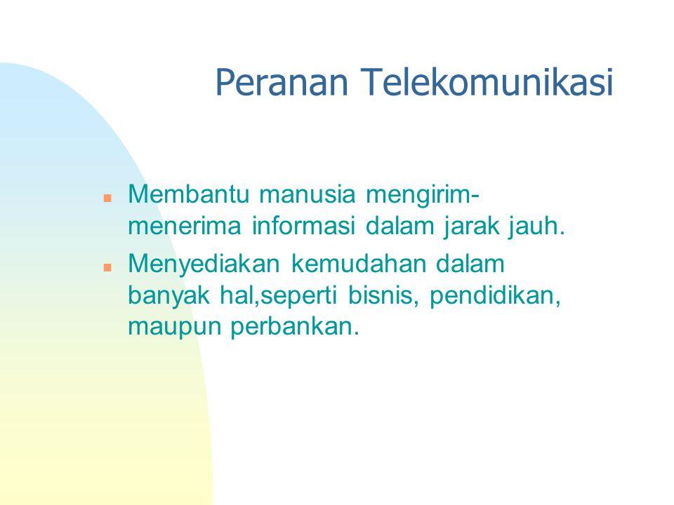 Peranan Telekomunikasi n Membantu manusia mengirim- menerima informasi dalam jarak jauh. n Menyediakan kemudahan dalam banyak hal,seperti bisnis, pend
