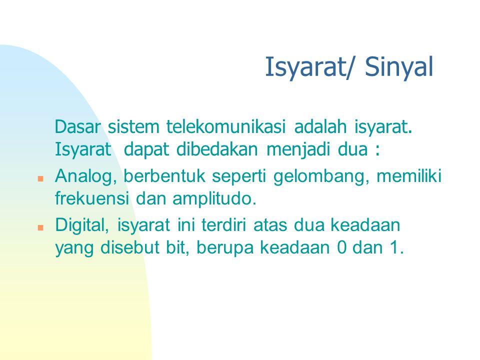 Isyarat/ Sinyal Dasar sistem telekomunikasi adalah isyarat. Isyarat dapat dibedakan menjadi dua : n Analog, berbentuk seperti gelombang, memiliki frek