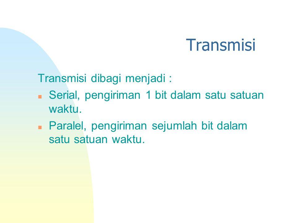 Transmisi Transmisi dibagi menjadi : n Serial, pengiriman 1 bit dalam satu satuan waktu. n Paralel, pengiriman sejumlah bit dalam satu satuan waktu.