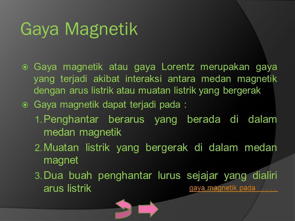 Gaya Magnetik  Gaya magnetik atau gaya Lorentz merupakan gaya yang terjadi akibat interaksi antara medan magnetik dengan arus listrik atau muatan lis
