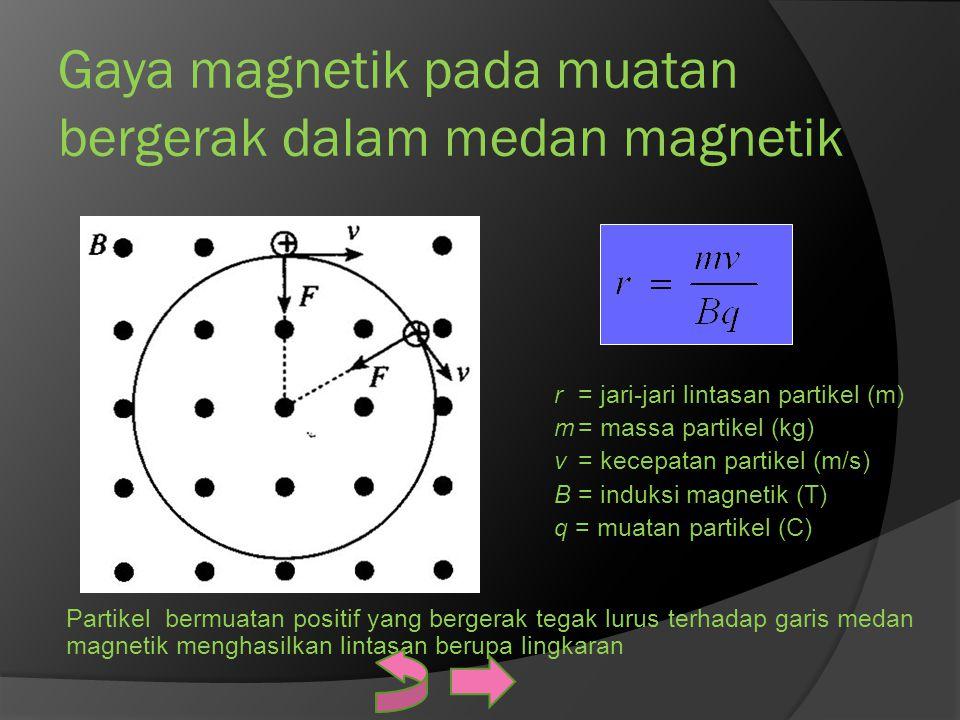 Gaya magnetik pada muatan bergerak dalam medan magnetik r= jari-jari lintasan partikel (m) m= massa partikel (kg) v= kecepatan partikel (m/s) B= induk