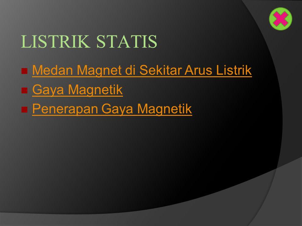 LISTRIK STATIS Medan Magnet di Sekitar Arus Listrik Gaya Magnetik Penerapan Gaya Magnetik