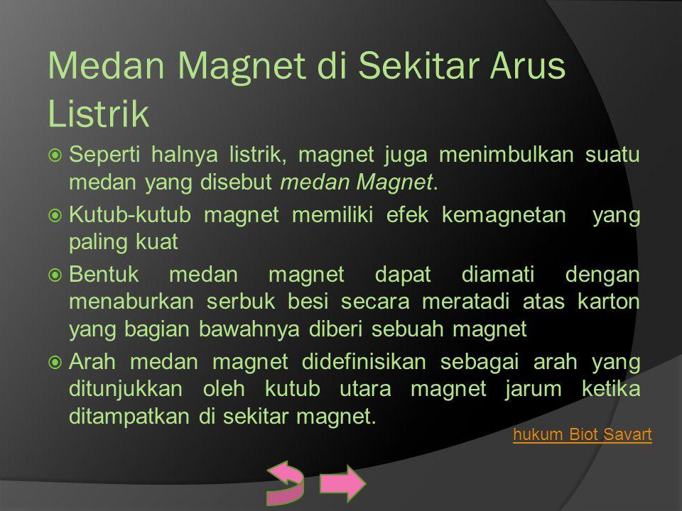 Medan Magnet di Sekitar Arus Listrik  Seperti halnya listrik, magnet juga menimbulkan suatu medan yang disebut medan Magnet.  Kutub-kutub magnet mem