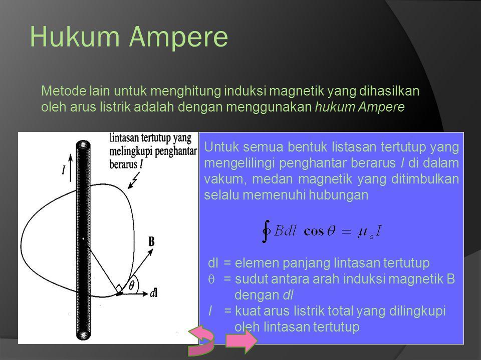 Hukum Ampere Metode lain untuk menghitung induksi magnetik yang dihasilkan oleh arus listrik adalah dengan menggunakan hukum Ampere Untuk semua bentuk