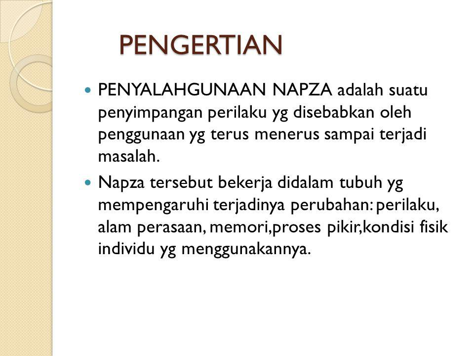 PENGERTIAN PENGERTIAN PENYALAHGUNAAN NAPZA adalah suatu penyimpangan perilaku yg disebabkan oleh penggunaan yg terus menerus sampai terjadi masalah. N